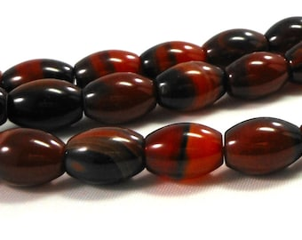 Red Agate Stone Barrel Beads, Red Black Agate Gemstone, Full Strand, 14mm Oval Tube Beads for Craft Beading and Jewelry Making, Supply Beads