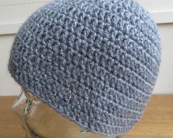 Crochet beanie hat in grey with metallic silver thread
