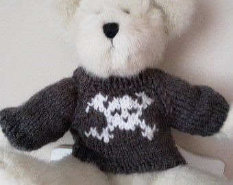 Teddy Bear Sweater - Hand knitted - Dark Grey with Skull Motif - fits 10 to 12 inch bear
