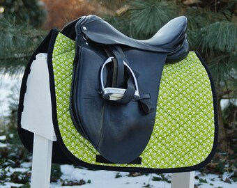 Ready to Ship - Green Skull and Crossbones Dressage Saddle Pad