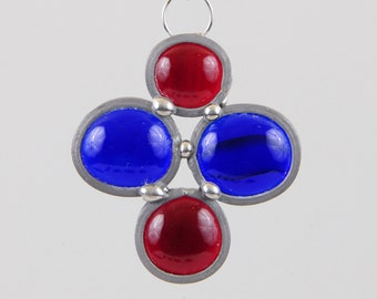 Red and blue cross stained glass bead ornament suncatcher