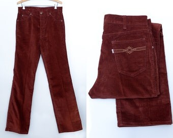 70s Levis Movin' On Corduroy Burgundy Bootcut Jeans W 32
