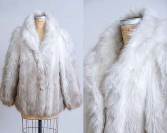 70s Ombre Fur Coat Disco Vegan Fur Bohemian Fluffy Jacket