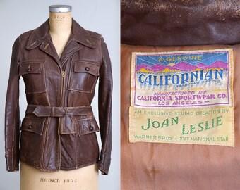1940s Californian Motorcycle Jacket Brown Leather Four Pocket Belted Waist Moto Joan Leslie for Warner Bros Hollywood Studio