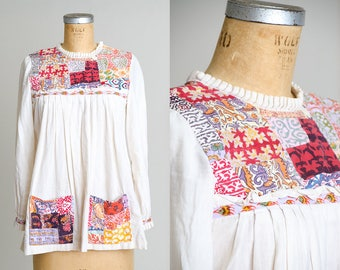 1960s Indian Cotton Hand Blocked Bohemian Babydoll Festival Blouse