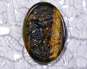 Carved Tiger Eye 54.4x35.8x4.8mm Natural Gemstone Cabochon Jewelry Supplies Gold Tiger Eye