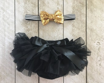Baby Girl Ruffle Bottom Tutu Bloomer & Headband Set in Black and Gold - Newborn Photo - Cake Smash - Diaper Cover - Baby Gift-First Birthday