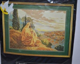 "Vintage 1996 Bucilla ""O'Jerusalem"" Counted Cross Stitch Kit Retired  Rare kit  embroidery Chart Kit - By Greg Olsen art deco 19"" x 14"""