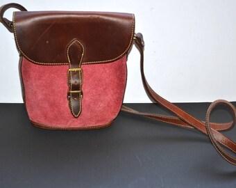 Vintage Roots original leather hand made push lock sturdy red bag 70s color block flap boho Unisex Satchel messenger shoulder made in Canada