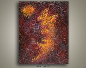 Maroon and Gold Abstract Painting - 22x28 Acrylic Canvas Wall Art - Textured Canvas - Swirls of Gold on Maroon Background