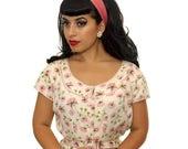 Vintage Sale Vintage 1960s Dress /  60s Dress / 60s Pink Floral Dress