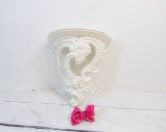 Vintage Wall Shelf Ornate Scrolls Heirloom White