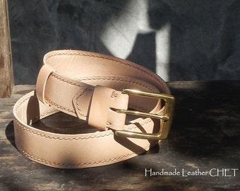 Leather Belt for men color Beige/Brown/Black/Red/Blue/Orange FREE PERSONALIZATION