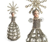altered art doll, mixed media assemblage, crystal rhinestone chandelier, table top tree,   by Elizabeth Rosen