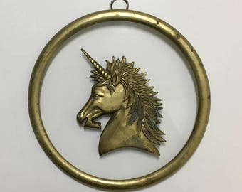 Unicorn Window Hanging / Round Brass Unicorn Wall Hanging / 70's Bohemian Decor
