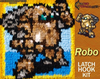 Chrono Trigger Robo - Latch Hook Kit - DIY Latch Hook 8*8 Inches