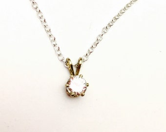 Clear CZ Pendant,  Gold Tone, 4mm, Elegant and Simple, Clearance Sale, Item No. B580