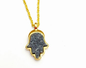 14 K G P Black Hamsa Pendant/Necklace Luck Protection Hand of Fatima Druzy Stone, Gold Tone, Vintage Accessory, Item No. B826
