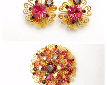 1980's Flower Brooch & Earring Set, Art Deco Flower Design, Pink Crystals, Gold Tone Filigree, Clearance Sale, Item No. B121