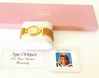 Special edition Angie Dickinson Watch, vintage Collectors, Gold tone Band, Mint working condition, Item No. B200