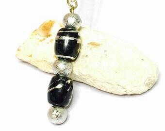 Vintage Black & Silver pendant/Necklace  Silver plated, Ethnic design, item No S786