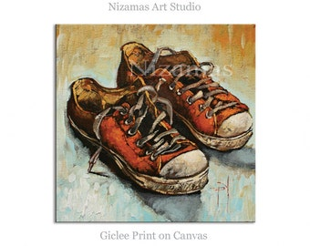 Wall Art Sneakers Giclee PRINT on Canvas Gift Modern Home Decor ready to hang