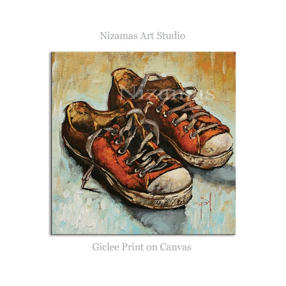 wall sneakers giclee print on canvas gift modern home
