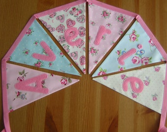 Girly personalised bunting, name banner. Baby, nursery. Applique hearts, elephants. Pink blue ivory. Per flag.