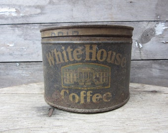 Vintage Tin Coffee Can Early White House Coffee Blue Kitchen Metal Tin Storage Display Country Farm Retro Kitchen Rustic Primitive Vtg Old