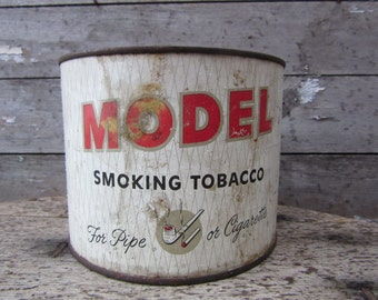 Vintage Tin Tobacco Can Model Pipe Cigarette White Metal Tin Container Storage Display Country Farm Retro Kitchen Rustic Primitive Vtg Old