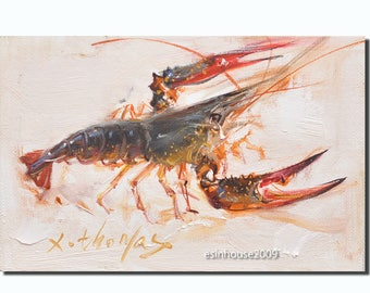 12X18cm Original Animals Oil Painting lobster Shrimp painting   by X.thomas