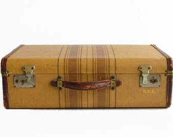vintage striped tweed suitcase 1940s luggage travel