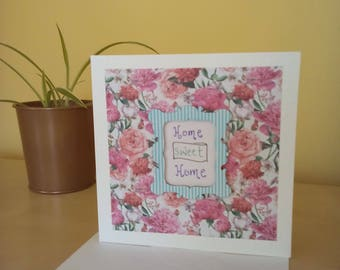 Handmade new home card, new home greetings, drawn new home, housewarming card handmade, floral,new homeowner, first home congratulations