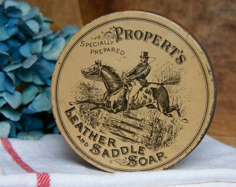Vintage Propert's Leather & Saddle Soap Tin Container || Primitive  Display Decor