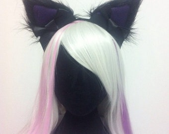 Your Choice Colour Cosplay Cat Ears Headband Purple, Blue, Pink, Black Faux Fur Nekomimi Hens Party Night Handmade in Australia