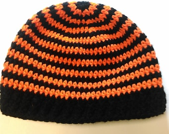 Orange and Black Striped Teen/Adult Hat - Ready to Ship