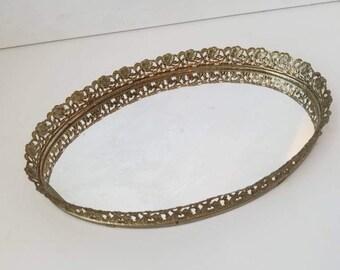 Mirrored Tray Gold Filigree 60s Vanity Perfume Mid Century Decor