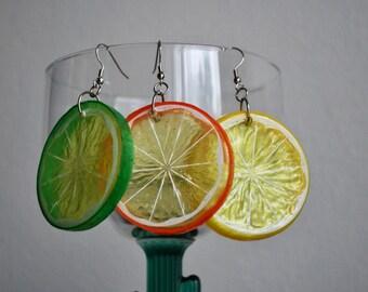 Set of Orange, Lime, and Lemon Slice Earrings plastic fruit, three pairs