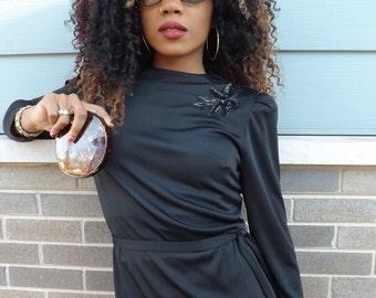 LBD--Vintage Black Dress With Sequin Shoulder Detail