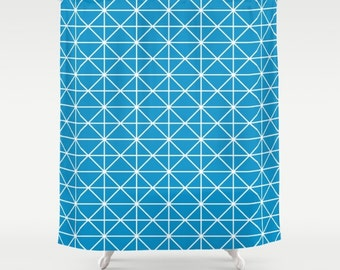36 colours, Swedish Blue, Geometric Triangle Lines Shower Curtain, bathroom shower curtains, Nordic style, White pattern, bathroom decor