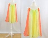 BOXING DAY SALE Citrus Rainbow Babydoll Nightie - Vintage 1960s Chiffon Nightgown in Yellow and Orange - Medium Large