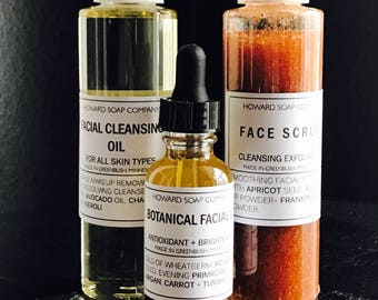 FACIAL SET >> toner/scrub/cleansing oil/botanical facial oil/howardsoapcompany
