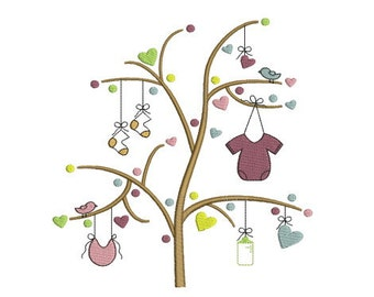 Embroidery design machine washing laundry small baby clothes Drying on a tree with hearts instant download
