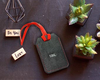 Personalized Leather Luggage Tag, Customized Real Leather Luggage Tag, Travel Tag, Baggage Tag from Genuine Leather