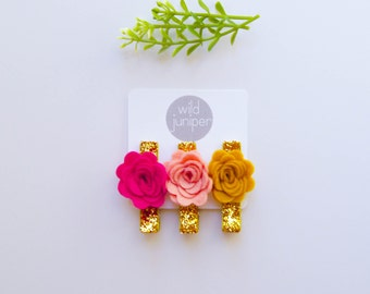 Hair Clip Set in Fuchsia, Cotton Candy, and Mustard
