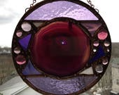 Glass Art|Round Stained Glass Suncatcher|Purple Agate With Druzy|Purple Glass|Abstract|Modern|Glass Art|Handcrafted|Made in America