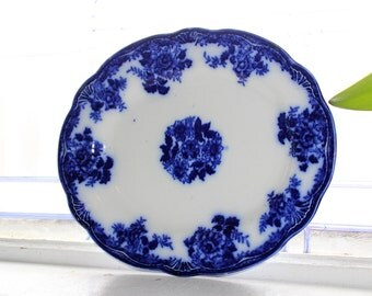 Antique Flow Blue Platter New Wharf Pottery Waldorf 1800s