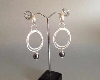 Silver Hoop Earrings - Organic Silver Earrings