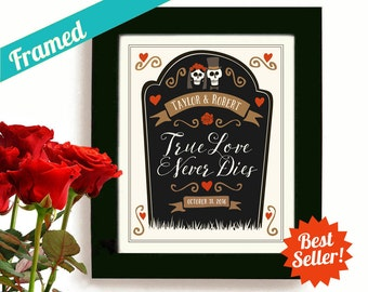 Skeleton Wedding Tombstone Personalized Art Day of the Dead Unique Wedding Gift Halloween Wedding for Couples Dia de los Muertos Goth Couple