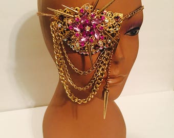 3D crystal eyepatch,with spikes and chains, made in gold color filigree,adorned with purples and ab crystals.